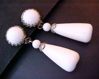 Miriam Haskell White Milk Glass Bead Dangle Earrings silver tone vintage