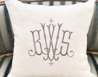 "Astor Monogrammed Pillow, 25"" x 25"""