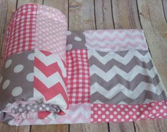 Grey, Hot Pink and Light Pink Baby Blanket, Minky Blanket, Nursery Decor,grey, light pink, hot pink, nautical, Chevron, Nursery Decor