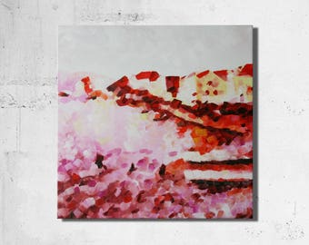 Abstract painting, original abstract art, black, white, pink, red, oil, painting on canvas 50 x 50 cm - 160816