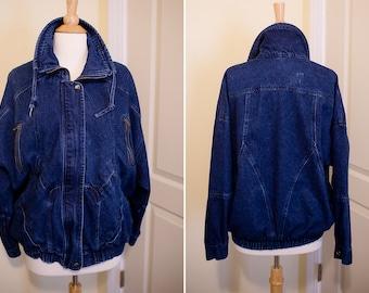 1980s British Mist Dark Wash Denim Jacket