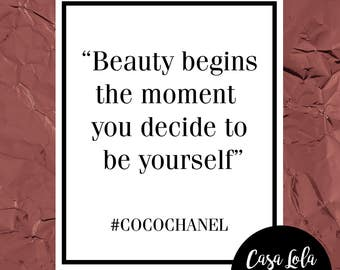 Quote Print, Wall Art, Inspirational Print, Typography Print, Inspirational Wall Art, Salon Decor, Coco Chanel Print A5 A4 A3