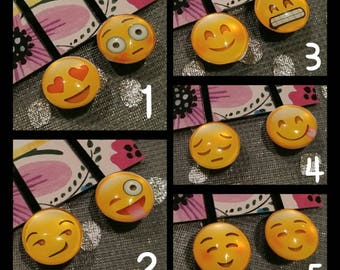 Emoji Faces Hair Pins. Smiley Face Hair Accessories. Emote Bobby Pins. Happy winking playful emojis. Cute gift. Emoji accessory. Glass Dome