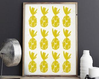 Pineapple Wall Print, Pineapple Print, Watercolor Art, Art Print, Pineapple Wall Art, Kitchen Decor - 008