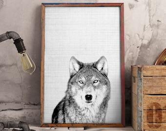 Wolf Print, Woodland Animals, Boys Room Decor, Nursery Animal Wall Art, Wolf Art, Arctic Wolf, Digital Download - 082
