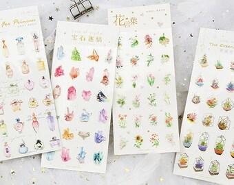 Foil Sticker Set - Flowers, Crystal, Perfume, Plants