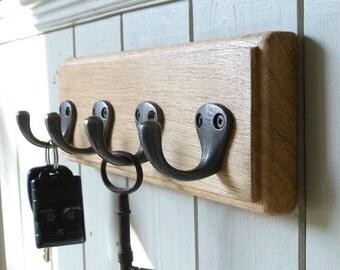 Vintage Style Wall Key Rack Solid Oak CAst Iron 4 Hooks 25cm Handmade.
