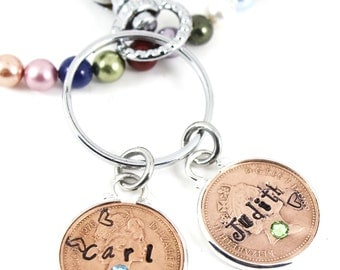 Set of Two Coins Couples Husband and Wife Names Birthstones Lucky Penny Keepsake Charm Keyring Keychain, Anniversary Keepsake Charm Gift.