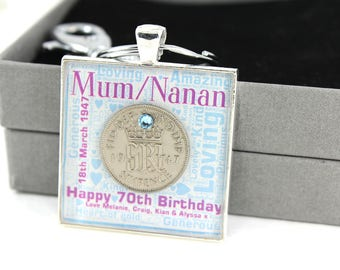 Personalised 70th Birthday Sparkly Word Art Word Cloud with Lucky Sixpence Coin and Swarovski Birthstone Keyring, Handbag charm.