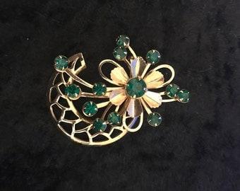 Vintage Gold Tone Flower Brooch with Emerald Green Rhinestones