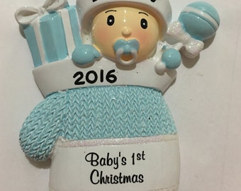 33% Off Blue Mitten Personalized Christmas Ornament -Baby Boy's First Christmas, Godson, Grandson, Newborn