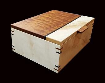 handmade box in rippled sycamore and rippled mahogany