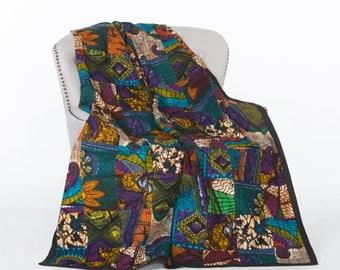 Patchwork Quilt-African Wax-Kitenge Quilt-Wax Print-Blue Quilt-Purple Quilt-Lightweight Quilt-Queen Size Quilt-Fair Trade-Peacock