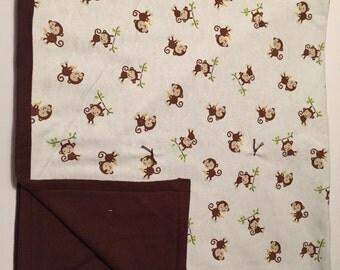 Brown monkey flannel baby blanket