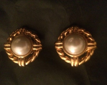 Vintage gold statement clip-on earrings with white pearls