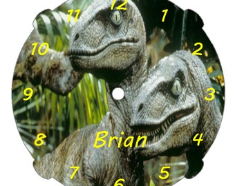 """Personalized 9"""" Dinosaur Wall Clock/Your Choice of Graphic/Clock Colors-Pink-Baby Blue-White-Black-Red-Blue/Quartz Movement/Kids Wall Decor"""