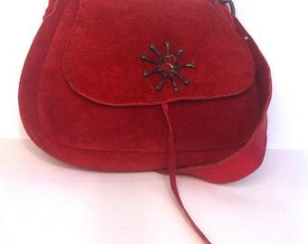 Vintage Red Suede GJTA Purse