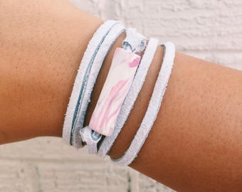 Wrap Bracelet AND Wrap Choker: Leather wrap bracelet- Leather wrap choker- Handmade Custom Clay Choker/Bracelet- Personalized- Marble Clay