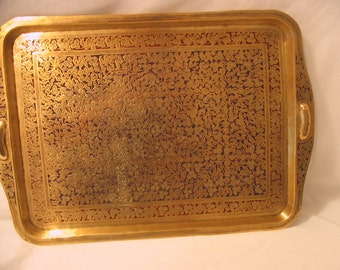 Vintage Engraved Brass Anglo-Indian Tray India Hippy Hippie Decor