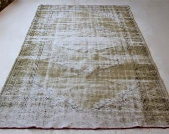 6'6 '' x 9'4 «tapis turc fané, détresse Oushak tapis, Vintage vieux revêtement de sol