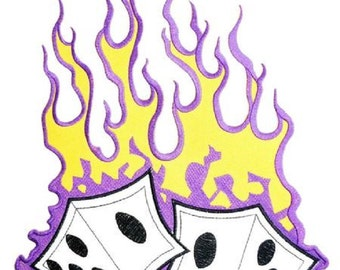"Lucky Hot Flaming Rockabilly Dice Big XL Embroidered Back Patch 13""x 9"""
