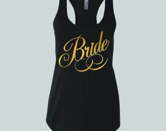 Bride Gold metallic design on black tank