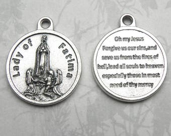 Our Lady of Fatima Round Holy Medal, Catholic Gift, Made in Italy, Virgin Mary, Blessed Mother, Portugal, Portuguese, Marian Apparition