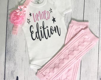 Newborn Girl Take Home Outfit Baby Girl Coming Home Outfit Limited Edition Newborn Outfit Funny Baby Outfit Baby Shower Gift Baby Girl