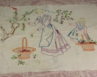 charming pillow, vintage, cherry picking on