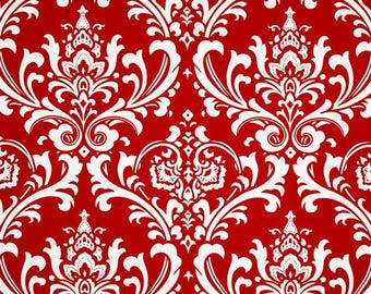 Premier Prints Ozbourne Red Lipstick Damask Fabric by the Yard