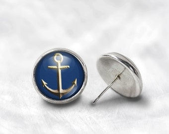 Anchor Earrings - Gold Anchor Earrings - Blue Anchor Earrings - Nautical Jewelry for Her (Pair) Lifetime Guarantee (E0710)