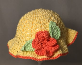 Crochet Baby Sun Hat, Yellow with Orange Flower and Accents