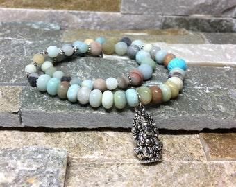 Ganesha wrist mala bracelet Lotus Amazonite