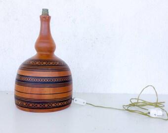 Ceramic table lamp, folk art lamp, handpainted ceramic lamp, pottery lamp