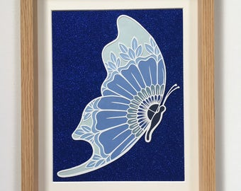 Blue ombre butterfly papercut, hand cut, framed, shades, glitter, gift, christmas