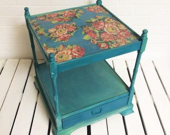 Blue green vintage style floral detail bedside table end table with drawer