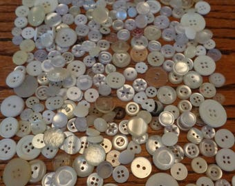 300 Vintage Assorted Buttons White Lot Off white Clear Other Light Tones Vintage Bulk Buttons Assorted Variety Pack