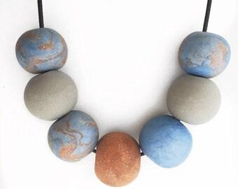 Handmade polymer clay bead necklace