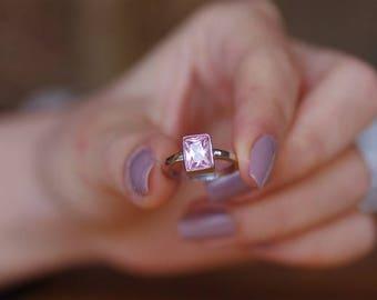 Silver Gemstone Ring, Square Ring, Gemstone Ring, Customized Ring, Personalized Birthstone Ring, Customized Birthstone Ring, Silver Ring