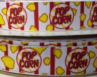 "Popcorn Ribbon, Snack Food Ribbon, 1"" Grosgrain Ribbon"