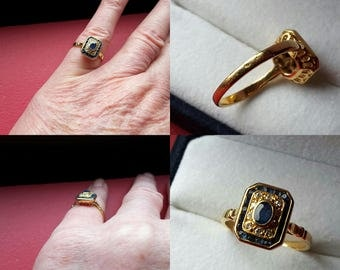 Small ring Sapphire and diamond - yellow gold 18 ct - Art deco