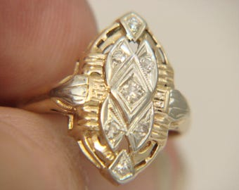 COPLEY 14K Yellow and White Gold Diamond Filigree Shield Antique Ring Size 6.5