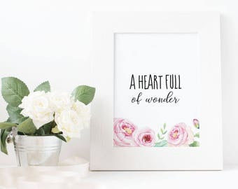 "Printable - ""A heart full of wonder"" (8X10 in)"