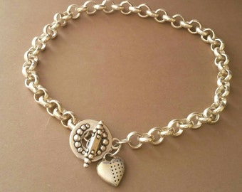 Chain necklace, thick chain choker with pendant heart, collar with sailor clasp, thick chain necklace with silver bath