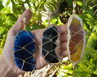 Wire Wrapped Macrame Agate pendants