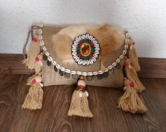 Jute, handmade clutch bag