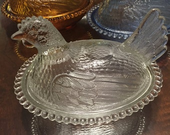 Vintage Clear Hen on Nest by Indiana Glass