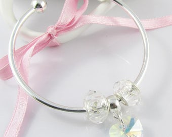 European Style Cuff Bangle Bracelet with Clear Glass Heart Charm 59mm