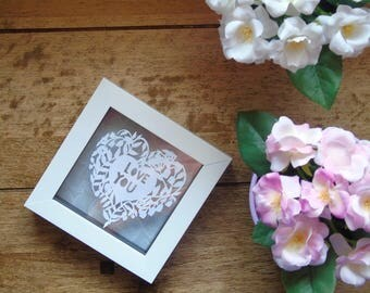 Love you hand made paper cut gift, wedding,