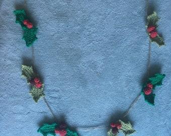 Handmade Crochet Christmas Bunting - holly